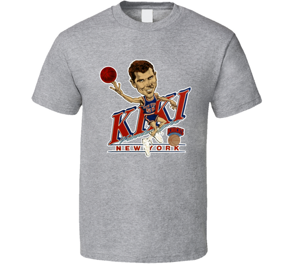 Kiki Vandeweghe New York Basketball Retro Caricature T Shirt