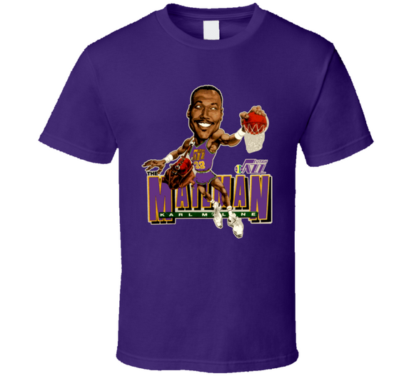 Karl Malone Utah Basketball The Mailman Retro Caricature T Shirt