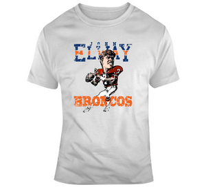 John Elway Denver Football Distressed Retro Caricature T Shirt