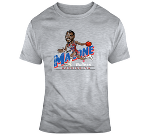 Jeff Malone Basketball Washington Distressed Retro Caricature T Shirt