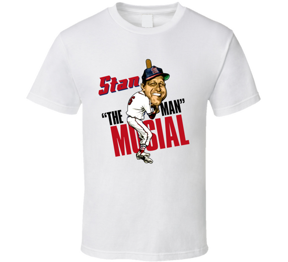 Stan Musial The Man St Louis Baseball Retro Caricature T Shirt