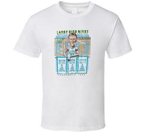 Larry Bird Banner Night Boston Basketball White Distressed Retro Caricature T Shirt