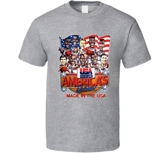USA Basketball 1992 Dream Team Retro Caricature T Shirt