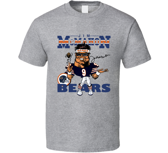 Jim McMahon Chicago QB Football Retro Caricature T Shirt