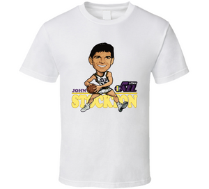 John Stockton PG Utah Basketball Retro Caricature T Shirt