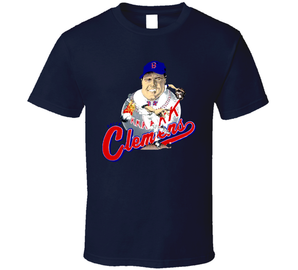 Roger Clemens Boston Baseball Retro Caricature T Shirt