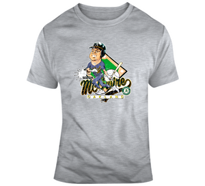 Mark Mcgwire Baseball Oakland Distressed Retro Caricature T Shirt