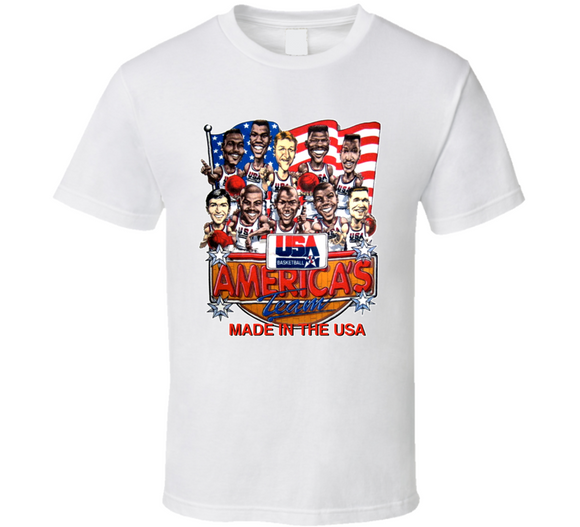 USA Dream Team 92 Basketball Retro Caricature T Shirt