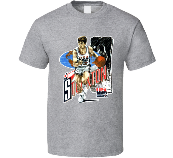 John Stockton USA Basketball Retro Caricature T Shirt