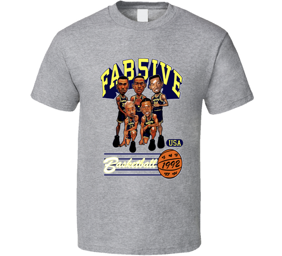 Fab Five Michigan Basketball Sport Grey Retro Caricature T Shirt