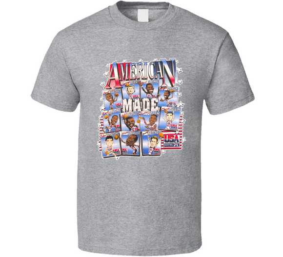 USA Basketball American Made Retro Caricature T Shirt