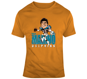 Dan Marino Football Miami Distressed Retro Caricature T Shirt