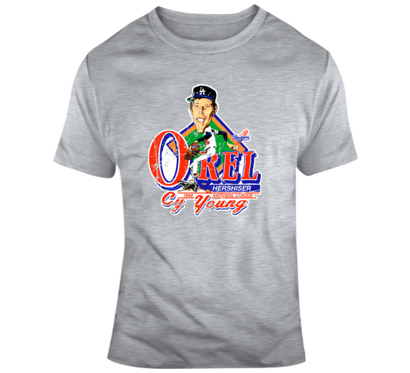 Orel Hershiser Baseball Los Angeles Distressed Retro Caricature T Shirt