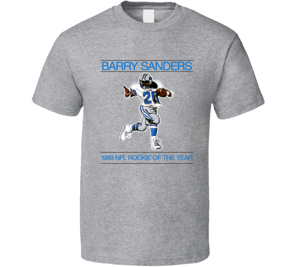 Barry Sanders 1989 Rookie Of The Year Detroit Retro Football T Shirt