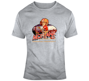 Joe Montana Football Sf Distressed Retro Caricature T Shirt