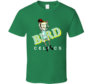 Larry Bird 33 GOAT Boston Basketball Retro Caricature T Shirt