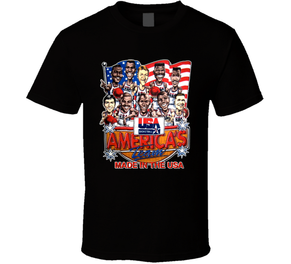 USA Dream Team 1992 Basketball Retro Caricature T Shirt