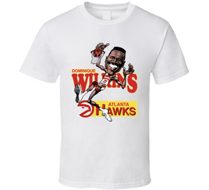 Dominique Wilkins Atlanta Basketball Retro Caricature T Shirt