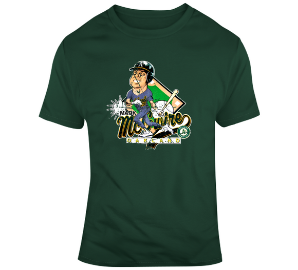 Mark Mcgwire Oakland Baseball Distressed Retro Caricature T Shirt