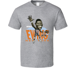 Patrick Ewing New York Basketball Retro Caricature T Shirt