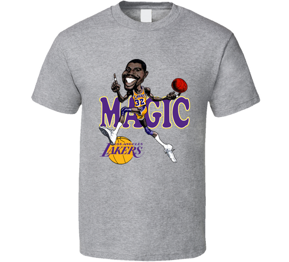 Magic Johnson GOAT LA Basketball Retro Caricature T Shirt