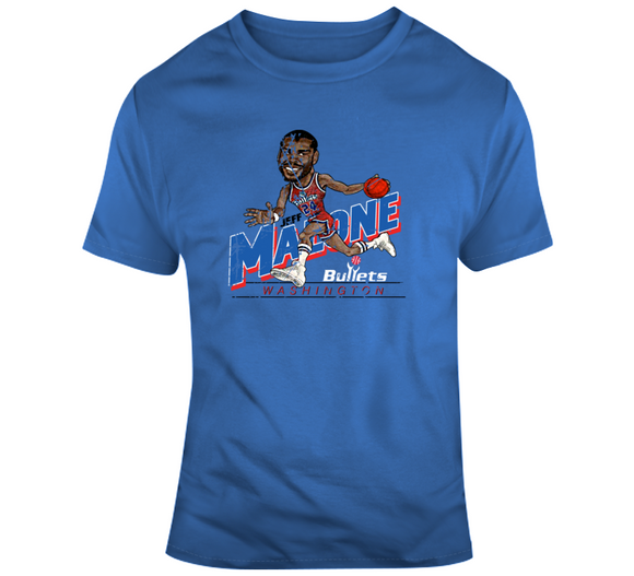 Jeff Malone Washington Basketball Distressed Retro Caricature T Shirt