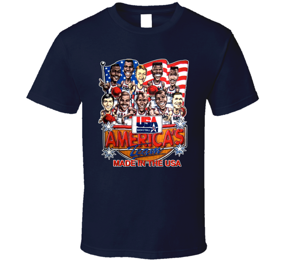 USA Basketball 1992 Dream Team USA Retro Caricature T Shirt