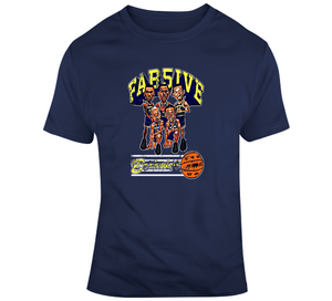 Fab Five Michigan Basketball Navy Distressed Retro Caricature T Shirt