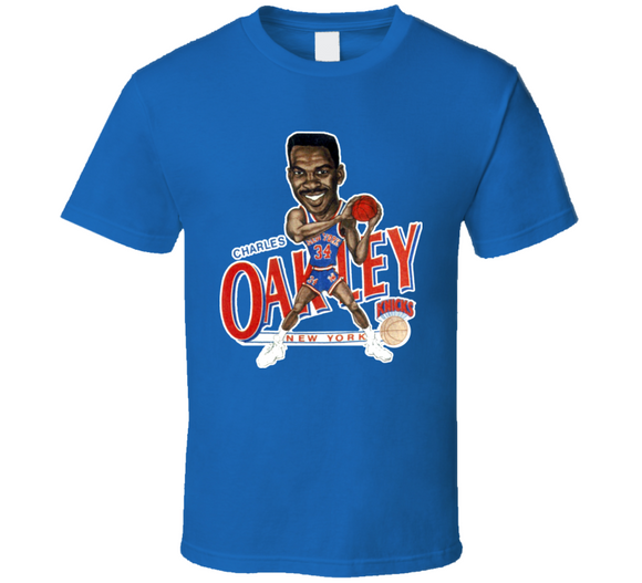 Charles Oakley New York Basketball Retro Caricature T Shirt