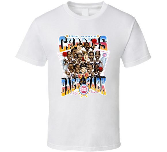 Detroit Basketball Back To Back Champs Retro Caricature T Shirt