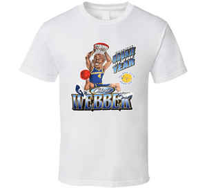 Chris Webber 1994 ROY Golden State Basketball Retro Caricature T Shirt
