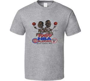 Michael Jordan Vs Isiah Thomas 1989 Retro Basketball Playoffs Caricature T Shirt