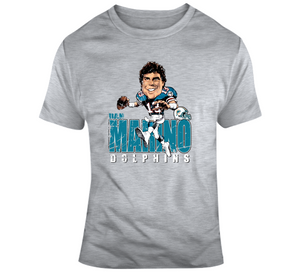Dan Marino Miami Football Distressed Retro Caricature T Shirt