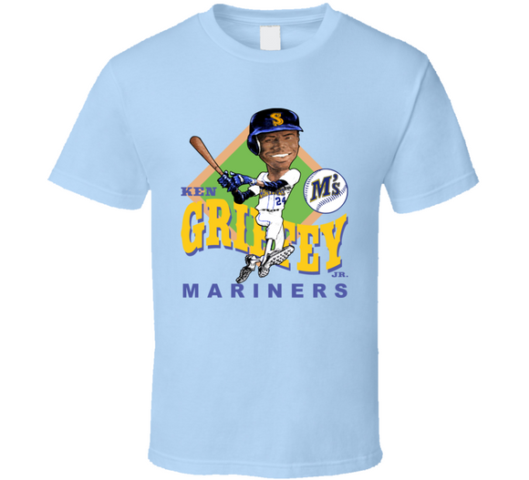 Ken Griffey Jr 24 Seattle Baseball Retro Caricature T Shirt