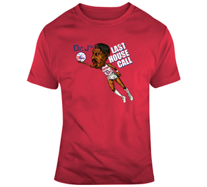Dr J Julius Erving Basketball House Call Distressed Retro Caricature T Shirt