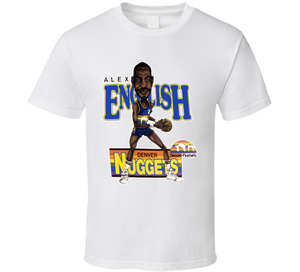 Alex English Denver Basketball Retro Caricature T Shirt