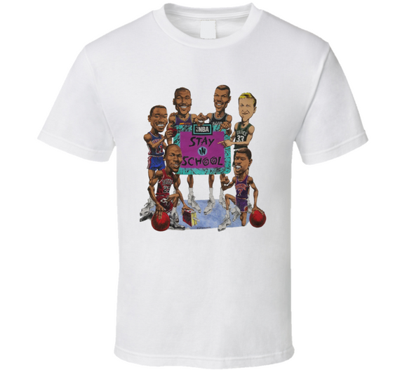 Nba Stay In School Psa Jordan Bird Basketball Caricature T Shirt