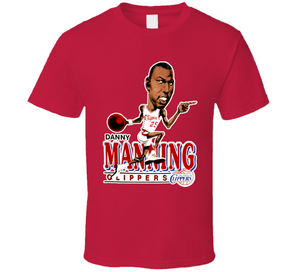 Danny Manning Los Angeles Basketball Retro Caricature T Shirt
