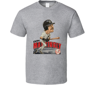 Don Mattingly New York Baseball Legend Retro Caricature T Shirt