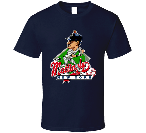 Don Mattingly NY Baseball Retro Caricature T Shirt