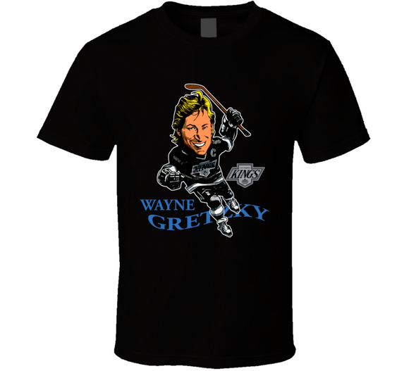 Wayne Gretzky Los Angeles Hockey Retro Caricature T Shirt