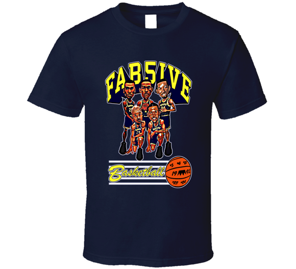 Fab Five Michigan Basketball Navy Retro Caricature T Shirt