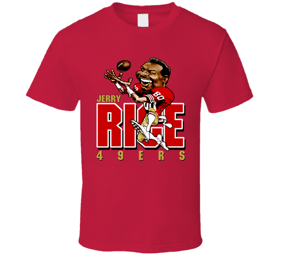 Jerry Rice San Francisco Football Retro Caricature T Shirt