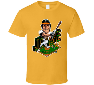 Jose Canseco 33 Oakland Baseball Retro Caricature T Shirt