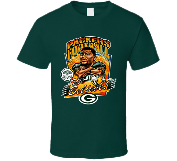 Reggie White Green Bay Football Retro Caricature T Shirt