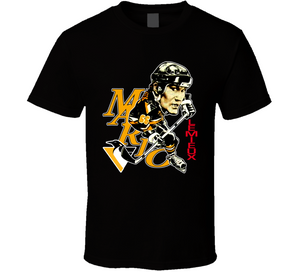 Mario Lemieux 66 Pittsburgh Hockey Retro Caricature T Shirt