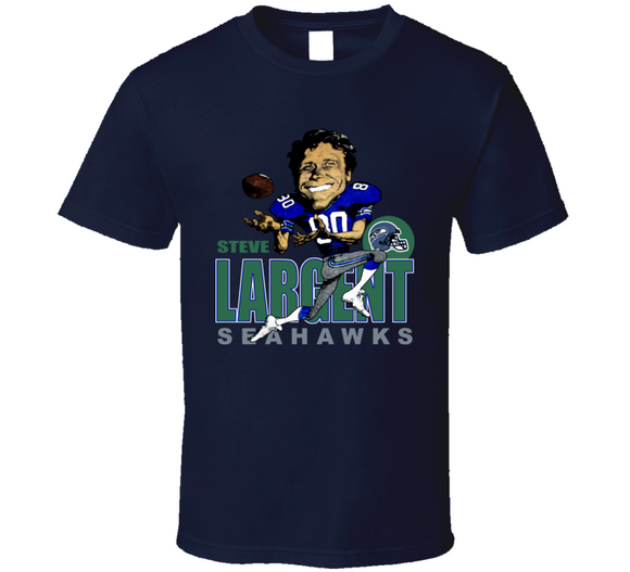 Steve Largent Seattle Football Retro Caricature T Shirt