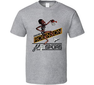 David Robinson Basketball SA Retro Caricature T Shirt