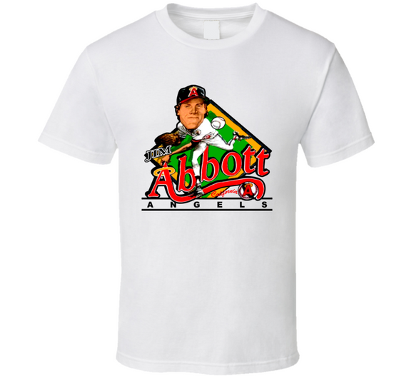 Jim Abbott Los Angeles Baseball Retro Caricature T Shirt
