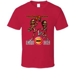 Hakeem Olajuwon Clyde Drexler Houston Basketball Retro Caricature T Shirt